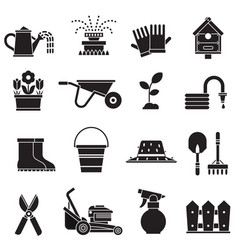 spring gardening icons set vector image