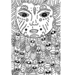 Surreal cosmic child - doodle coloring page for vector