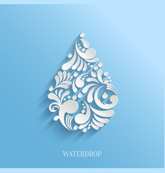 Abstract Floral Water Drop on Blue Background vector image vector image