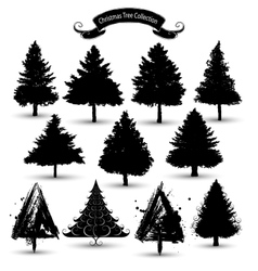 christmas tree silhouettes vector image vector image