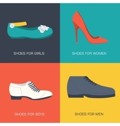 fashion shoes for family on flat style vector image