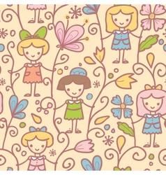 Girls with flowers seamless pattern background vector image