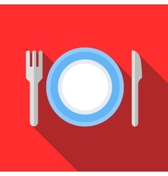 Plate with fork and knife icon flat style vector image vector image
