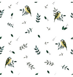 seamless pattern with leaves and small cute birds vector image vector image