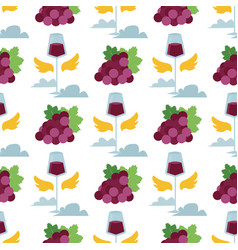 wine seamless pattern with silhouettes of vector image vector image