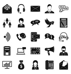 interaction icons set simple style vector image