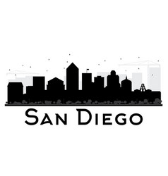 San diego city skyline black and white silhouette vector