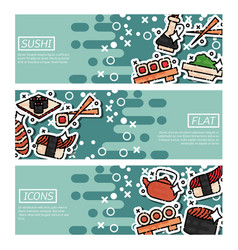 set of horizontal banners about sushi vector image vector image
