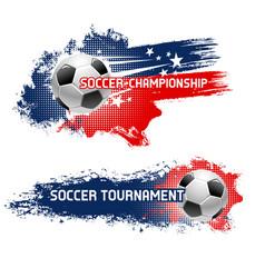 soccer ball football tournament banner set design vector image