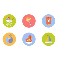 baby children icons set vector image