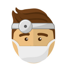 doctor face with medical mask and reflector vector image