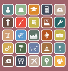 engineering flat icons on red background vector image vector image