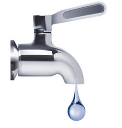 faucet and water drop isolated 3d vector image