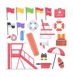 lifeguard equipment flat icons set vector image vector image
