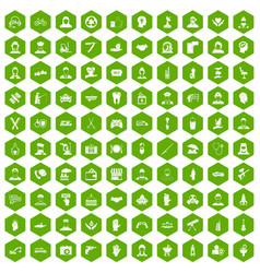 100 human resources icons hexagon green vector