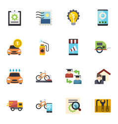 16 service flat icons set isolated on white vector