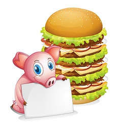 A pig holding an empty paper beside a pile of vector