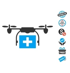 Ambulance Drone Icon With Free Bonus vector