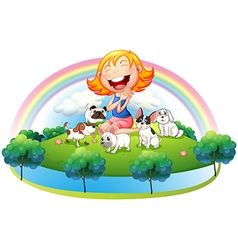 An island with a girl and her five pets vector image