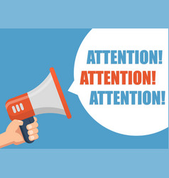 attention - male hand holding megaphone vector image