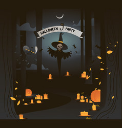 banner halloween party dark vector image