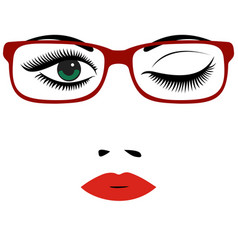 beautiful womens portrait with glasses red lips vector image