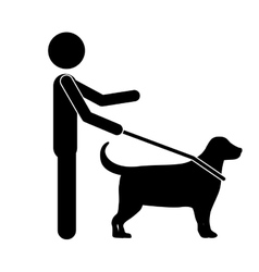 Blind person with a guide dog isolated icon vector