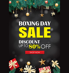 boxing day sale with gift box advertising poster vector image