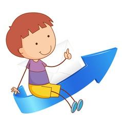 Boy on arrow vector