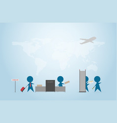 Businessman and traveler check in at security area vector