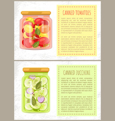 canned tomatoes and zucchini vector image