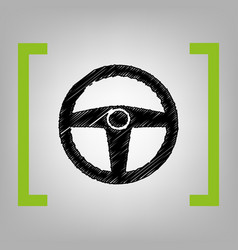 car driver sign black scribble icon in vector image