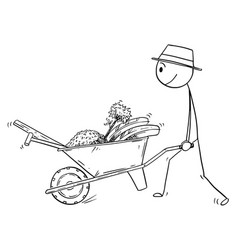 Cartoon of gardener going to plant a tree and vector