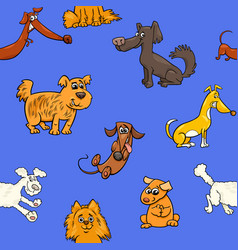 cartoon pattern with dogs vector image