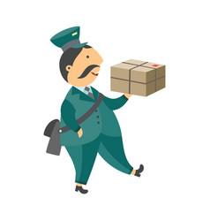 cartoon postman mailman character parcel vector image