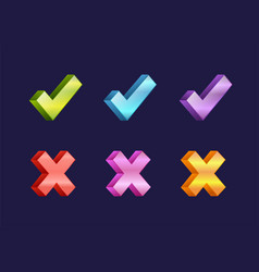 check box icons of vote mark web sign choice yes vector image