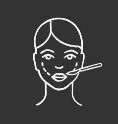 Cheek lift surgery chalk icon vector