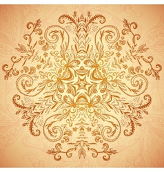 Chocolate floral ornament mandala background card vector