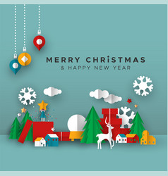 christmas and new year card papercut toy city vector image