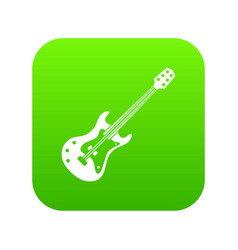 Classical electric guitar icon digital green vector