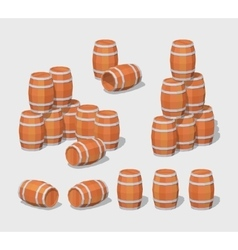Cube World Wooden barrels vector