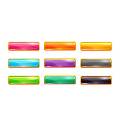 decorative colorful long buttons set vector image