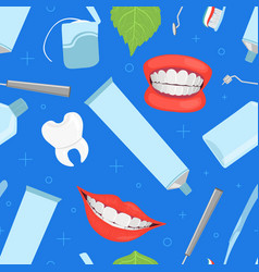 dentistry seamless pattern with dental instruments vector image
