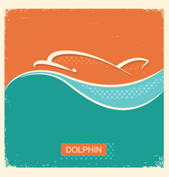 Dolphin symbol poster with blue sea wave vector
