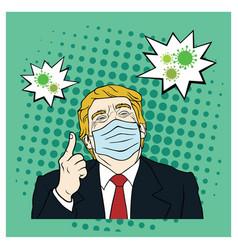 donald trump wearing mask corona virus covid-19 vector image