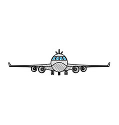 Doodle front airplane vehicle fashion transport vector