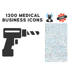 Drill icon with 1300 medical business icons vector