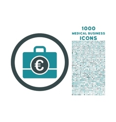 Euro Accounting Case Rounded Icon with 1000 Bonus vector image
