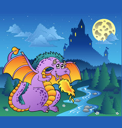 Fairy tale image with dragon 3 vector