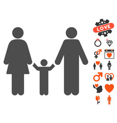 family child icon with valentine bonus vector image